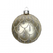 Gisela Graham Gold with Silver Glitter Swags Glass Bauble 80mm