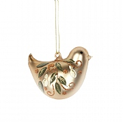 Gisela Graham Matt Gold Glass Bird with Pears Tree Decoration