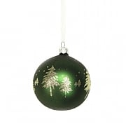 Gisela Graham Matt Forest Green Glass Bauble with Gold Trees 80mm