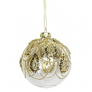 Gisela Graham Clear Gold Glass Ball with Gold Glitter Swags Bauble 80mm