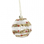 Gisela Graham Clear Glass Bauble with Red 3D Star Band 80mm