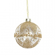 Gisela Graham Clear Glass Bauble with Gold Glitter Band 80mm