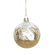 Gisela Graham Clear Gold Glitter Glass Bauble with Swan 80mm