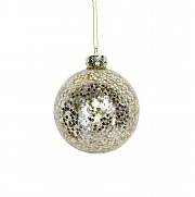 Gisela Graham Clear Glass Bauble with Gold & Silver Stars Inside 80mm