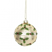 Gisela Graham Matt Gold Glass Bauble with Glitter Holly & Stars 80mm