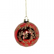 Gisela Graham Cherry Glass Bauble with Gold Glitter Swirls 80mm