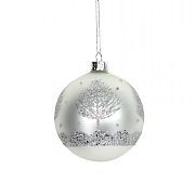 Gisela Graham Matt White Glass Bauble with Silver Glitter Trees 80mm