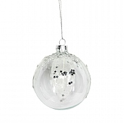 Gisela Graham Clear Glass Bauble with Mesh Leaves & Silver Glitter 80mm