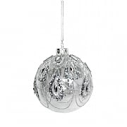 Gisela Graham Clear Glass Bauble with Silver Glitter Swags 80mm