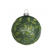 Gisela Graham Antique Matt Green Glass Bauble with Green Beaded Vine 80mm