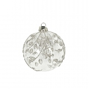 Gisela Graham Clear with Silver Glitter Vine Bauble 80mm