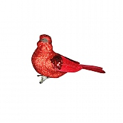 Gisela Graham Red Glitter Bird On Clip Tree Decoration