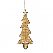 Gisela Graham Copper Beaded Glitter Tree in Pot Tree Decoration