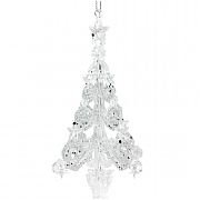 Gisela Graham Clear & Silver Glitter 3D Filigree Tree Decoration
