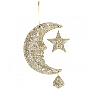 Gisela Graham Gold Glittered Acrylic Moon with Star Tree Decoration