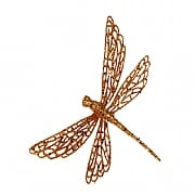 Gisela Graham Copper Glitter Dragonfly Clip Tree Decoration
