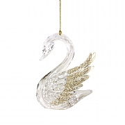 Gisela Graham Clear & Gold Glitter Acrylic Swan Tree Decoration