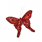 Gisela Graham Dark Red Velvet & Sequin Butterfly Clip Tree Decoration