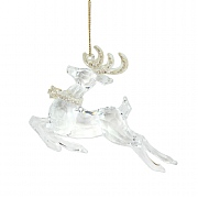 Gisela Graham Clear & Glitter Acrylic Prancing Stag Tree Decoration