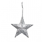 Gisela Graham Silver Glitter Acrylic 5-Point Ribbed Star Tree Decoration