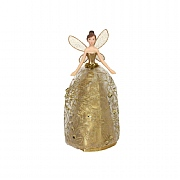 Gisela Graham Gold Glitter Fabric & Resin Tree Top Fairy 18cm
