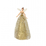 Gisela Graham Gold Glitter Fabric & Resin Tree Top Fairy 30cm