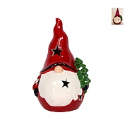 Gisela Graham Ceramic LED Nordic Santa Ornament