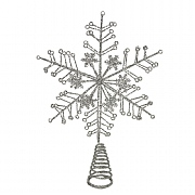 Gisela Graham Silver Glitter Snowflake Tree Top Star