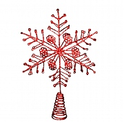 Gisela Graham Red Glitter Wire Snowflake Tree Top Star