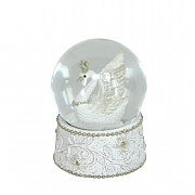 Gisela Graham White & Silver Resin Swan Dome