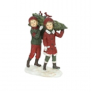 Gisela Graham Resin 'Nostalgia' Boy & Girl with Tree Ornament
