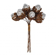 Gisela Graham Bunch of Silver Glitter Acorn Picks 11cm