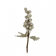 Gisela Graham Pale Gold Glitter Ball Cluster with Leaves
