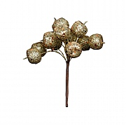 Gisela Graham Gold Glitter Mini Cherry Bunch Pick