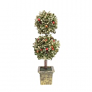 Gisela Graham Double Topiary Ball with Berries in Gold Pot Ornament