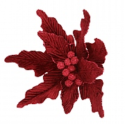 Gisela Graham Dark Red Velvet Poinsetta Clip Tree Decoration