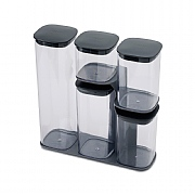Joseph Joseph Podium 5 Piece Storage Jar Set With Stand Grey