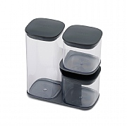 Joseph Joseph Podium 3 Piece Storage Jar Set With Stand Grey