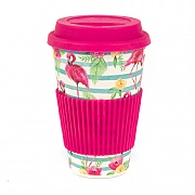 Cambridge Flamingo Floral Bamboo Eco Travel Mug