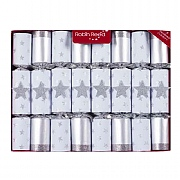 "Robin Reed Silver Magic Stars 10"" Christmas Crackers Pack of 8"