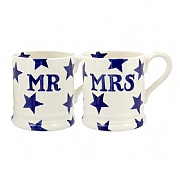 Emma Bridgewater Blue Star Mr & Mrs Set Of Two Half Pint Mugs