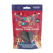 Rosewood Sweet Potato Festive Filled Antlers for Dogs 3 Pack 84g