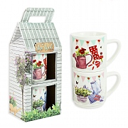 Bone China Stacking Mugs - Set Of 2