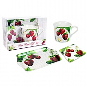 Mug, Tray & Coaster Gift Set - Strawberry Design