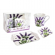 Mug, Tray & Coaster Gift Set - Lavender Design