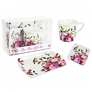 Mug, Tray & Coaster Gift Set - Rose Design