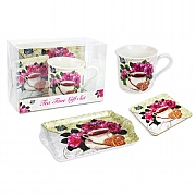 Mug, Tray & Coaster Gift Set - Floral Design