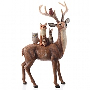 Decoris Brown Reindeer with Animals on Back Ornament (Small)