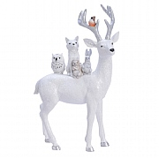Decoris White Reindeer with Animals on Back Ornament (Small)