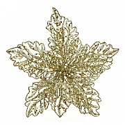 Decoris Gold Glittery Poinsettia on Clip
